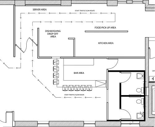 conceptual restaurant kitchen design staff traffic flow floorplan