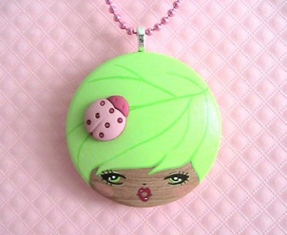 Bug Lady Doll face Necklace