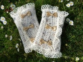 Victorian Spats with Bows in Oatmeal by Mademoiselle Mermaid-1
