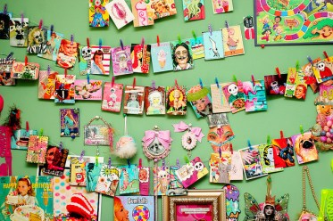 kitschy art studio wall