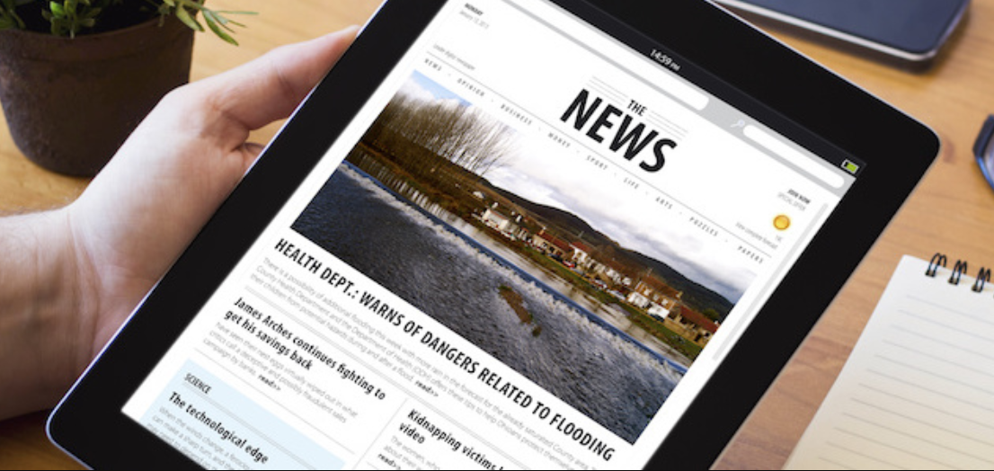 news article on tablet
