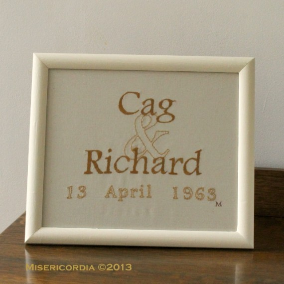 50th Wedding Anniversary Hand Embroidery Commission - Misericordia 2013