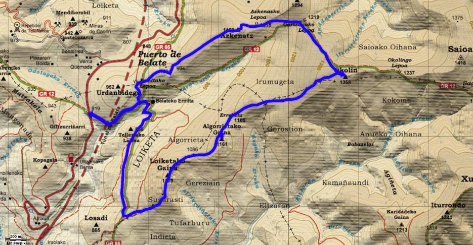 Mapa del recorrido 588 sobre cartografía de Alpina
