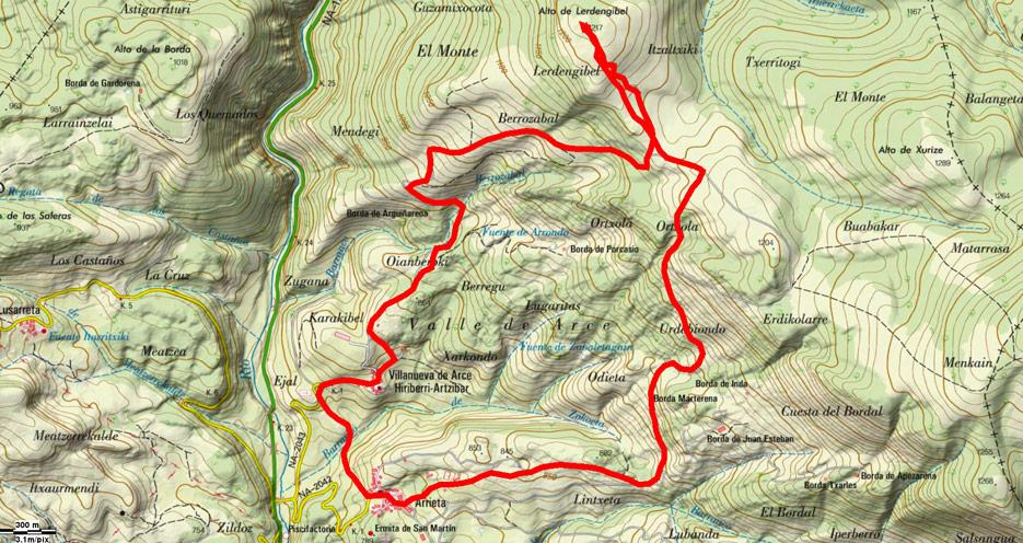 Mapa del recorrido 603