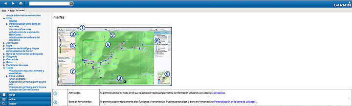 Ayuda online en Garmin Basecamp