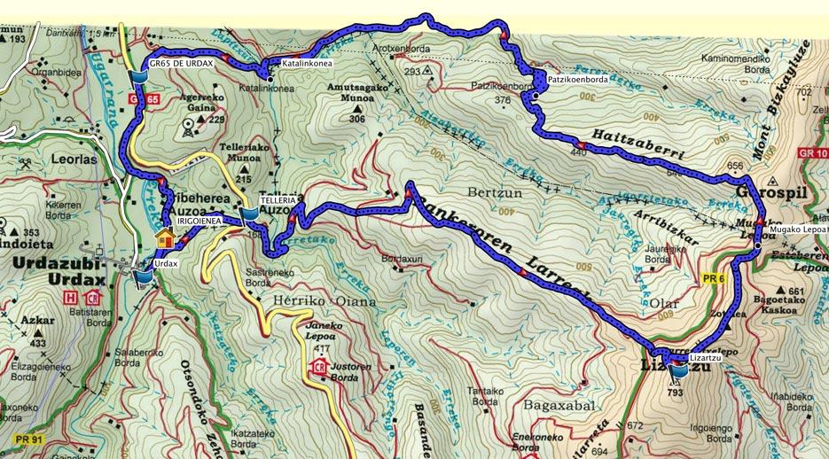 Mapa del recorrido 639