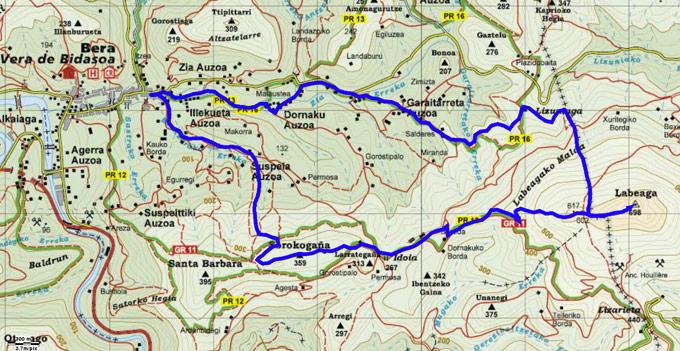 Mapa del recorrido 654