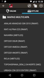 Elegir Topohispania Norte en la lista de mapas offline del Orux