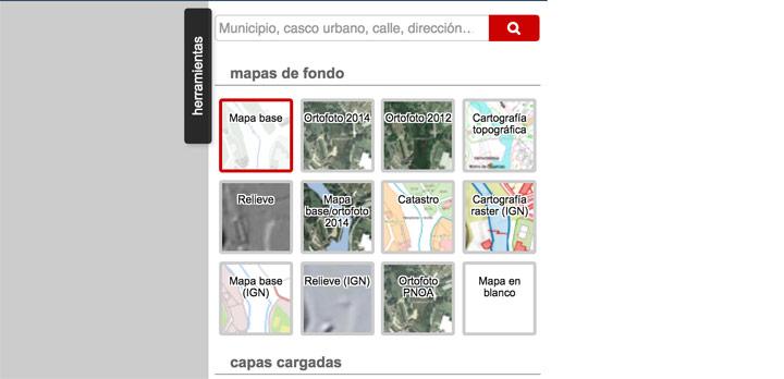 Mapas capas por defecto en IDENA visor web