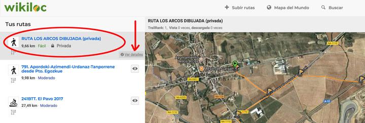 Listado de mis rutas en Wikiloc. Pulsamos en Editar detalles