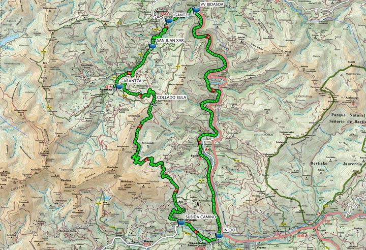 Mapa del recorrido 283BTT