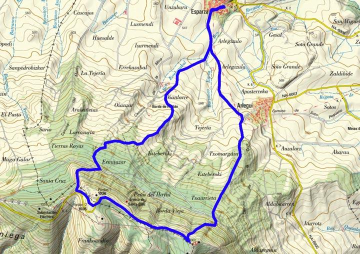 Mapa del recorrido 845