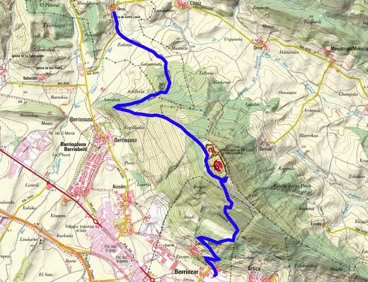 Mapa del recorrido 853