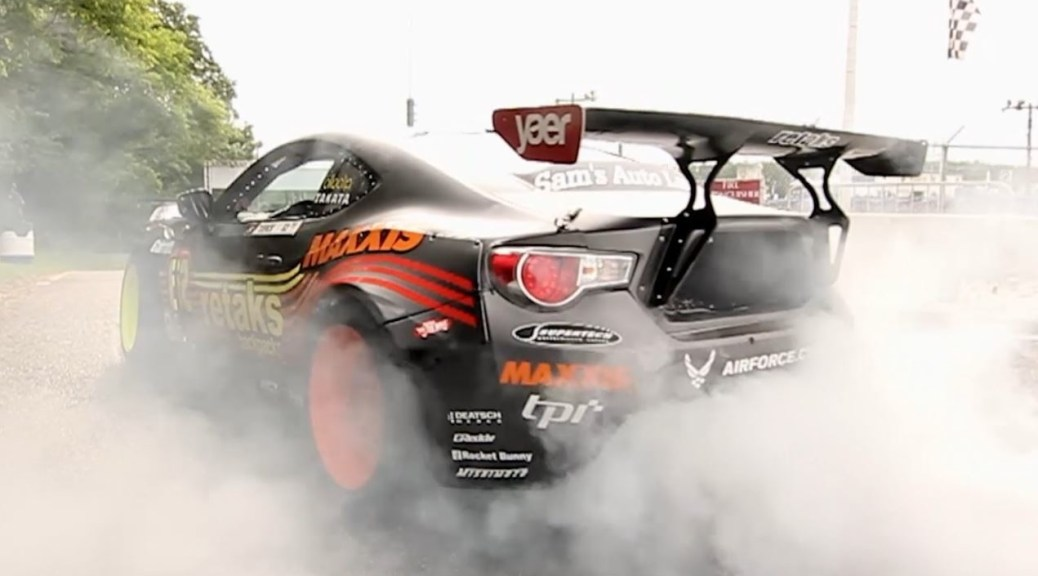 Ryan's Formula Drift pro-car burning rubber