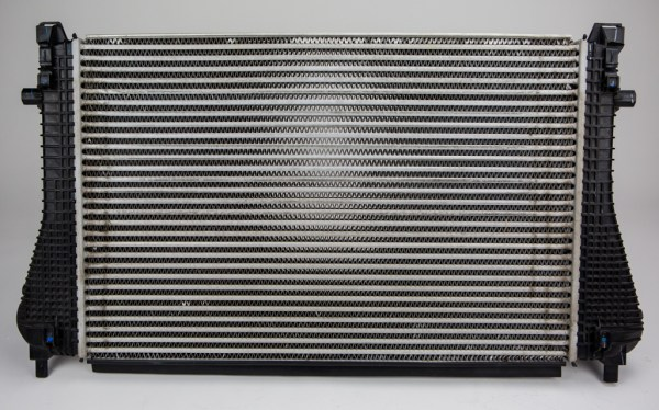 The factory intercooler has a large surface area, which in terms of an intercooler is beneficial for heat dissipation.