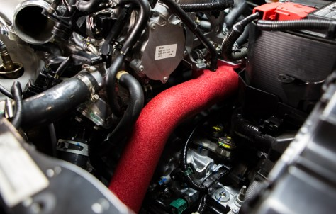 Not only will you be improving the flow of your intercooling system by installing our pipes, but also sprucing up the engine bay with the Rallye Red cold-side pipe option. For those of you looking for a less conspicuous aesthetic, they will also be offered in wrinkle black.