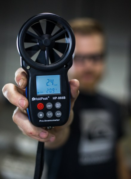 With this anemometer, Jason is able to easily and accurately get readings of wind speed on the back side of the radiator. Basically, we can determine the baseline performance of the stock radiator without even turning the car on