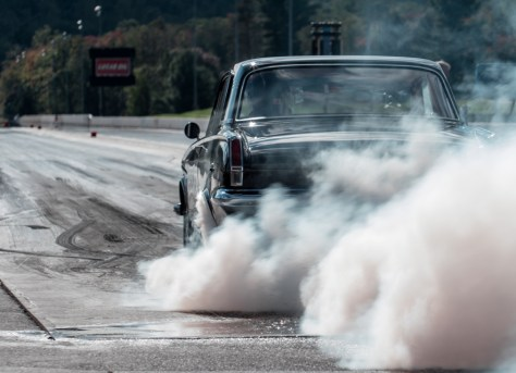 We weren't the only suppliers there, of course. The guys from Manley Performance showed us what a proper burnout looks like in their '64 Plymouth Valiant.
