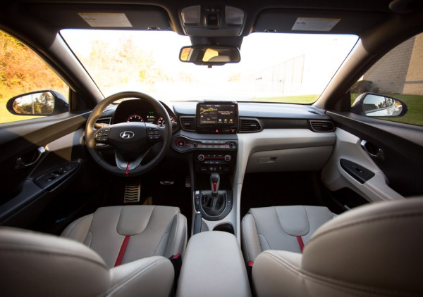 Even the inside of the Veloster has a lively character. It's unlike so many of its contemporaries, especially with the two-toned interior.