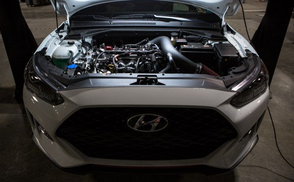 The Veloster is not a large car by any means. Still, with the engine cover installed and aftermarket intake kit, there was plenty of room for our engineer to work with.