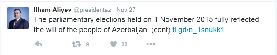 No mention of the Kansas election observing agency here, but you can see a bit of Azerbaijani public relations technique. If you want a fun thing to do for a few minutes, do go check out Ilham Aliev's Twitter feed.