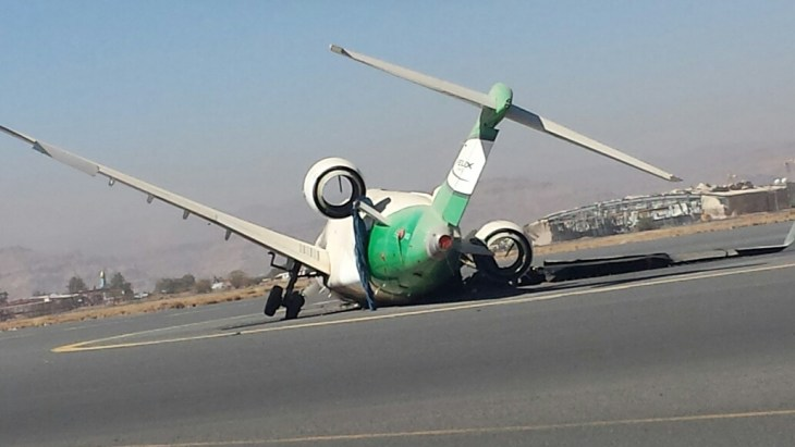 damaged bombardier plan aircraft yemen 2
