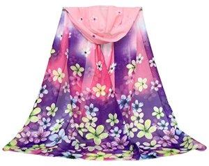 DAMILY Petit Foulard Fleurs Colorées Écharpe Châle Femme (Violet)