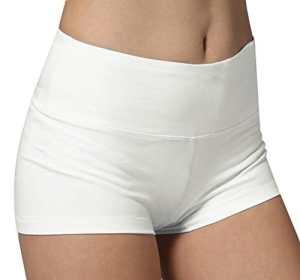 Short de Yoga femme blanc Pantacourt Sous-vetements shorty sport Boy Short,S