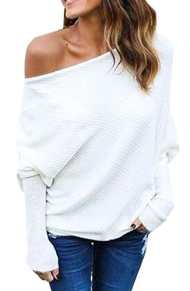 AHOOME Femme Sweater T-Shirt Col Bateau Sexy Shirt Pull Manche Longue Chandail Top Tricot Casual Automne- Hiver 2017