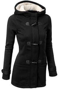 BYD Femmes Manteaux à Capuche Bouton Corne Blouson Veste Jacket Manches Longues Chaud Épais Hoodie Hoody Outwear Automne Hiver Slim Fit,Noir,Medium