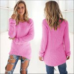 Internet Femmes à manches longues occasionnels chandails solide cavalier Polyester pull chemisier Automne-hiver (XL, Hot Pink)