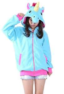 KiKa Monkey Cosplay Unicorn Animal Hoodie Veste Pull Costume Parti (XL, Bleu)