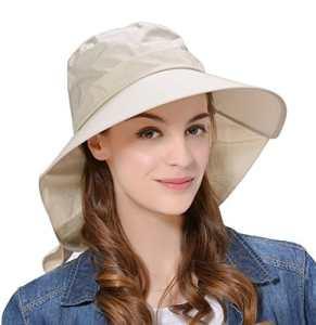 Kuyou Casquette à Visière Femme Eté Anti-UV Chapeau de Soleil (Beige)