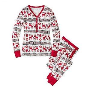 Meijunter Noël Famille assorti Ensemble de pyjamas Cerf Coton Manche longue Vêtements de nuit Nightwear Pour Père Mère Enfants Nouveau née Romper