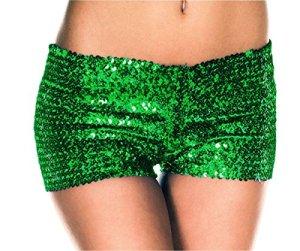 Paillettes de la mode des shorts 'Club de femmes (M, vert)