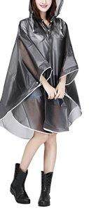 Raincoat Cape de Pluie Femme Portable EVA Manteau Imperméable Poncho à Capuche Moto/Vélo Bâche Environnement pour Voyage/Camping/Randonnée/Vacances-Gris