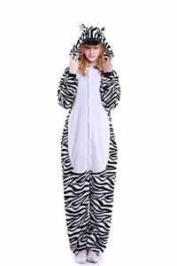 Tuopuda Kigurumi Pyjamas Unisexe Adulte Costume Cosplay Animaux Onesie Pyjama Halloween Noel Party Soirée de Déguisement (M ( 158-167 cm height), Zèbre noir et blanc)