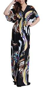 Wantdo Femme Robe de Plage Imprimée Bohème Col en V Taille Haute Grande Taille Papillon 60-62