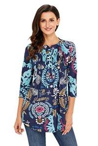 Dokotoo Femme T-shirt Manche 3 4 Imprime Fleur Tunique Lache Blouse Femme et Top Chic, Bleu, M(EU 40-42)
