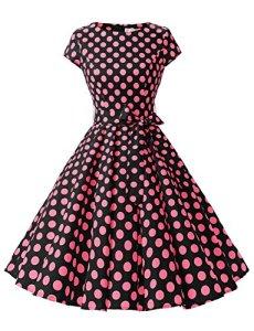 Dressystar DS1956 Robe à 'Audrey Hepburn' Classique Vintage 50's 60's Style à mancheron Noir à pois fuchsia B S