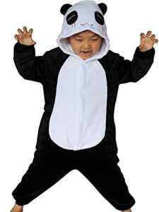 Kenmont Enfant Unisexe Animal Costume Cosplay Combinaison Licorne Pyjama Nuit Vêtements Soirée de Déguisement (Taille115, Panda)