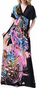 Wantdo Femme Robe de Plage Imprimée Bohème Col en V Taille Haute Grande Taille Multicolore 60-62