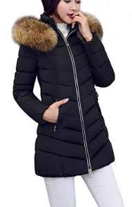 Arkind Manteau Hiver Femme Jacket Elegant Uni Zip Long Veste à Capuche Fourrure Fausse Chaud Doudoune Coat Blouson Parka Veston Hoodie – Noir – Taille EU S