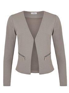 Danaest – Veste de tailleur – Blouson – Uni – Col Chemise Italien – Manches Longues – Femme – Gris – X-Large