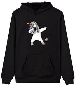 Eudolah Femme Pull sweat-shirt à capuche autonome animaux imprimés manches longues licorne noir M