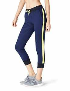 FIND Slim Cropped Jogger Pantalon de Sport Femme, Bleu (Navy/citrine), 36 (Taille Fabricant: X-Small)