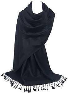 GFM Pashmina Style en fleurs, cachemire Motif feuilles Foulard – Noir – Large