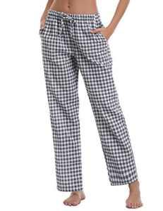 Aibou Unisexe Bas de pyjama Femme 100% Coton Vêtements de nuit à Carreaux homme Pantalon Lounge Pyjama ,Bleu ,X-Large