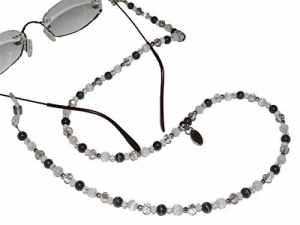 ARTEM Los® main chaîne de lunettes Femme en Acier Inoxydable et perles dans gris/blanc