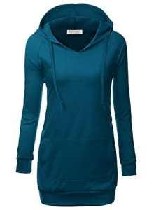 BAISHENGGT Femme Veste a Capuche Manches longues Sweat-shirt Pull-over Bleu-Vert XL